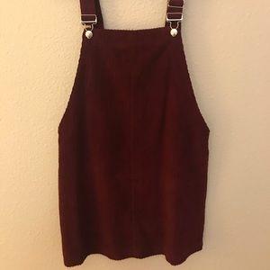 Maroon Corduroy overall mini dress
